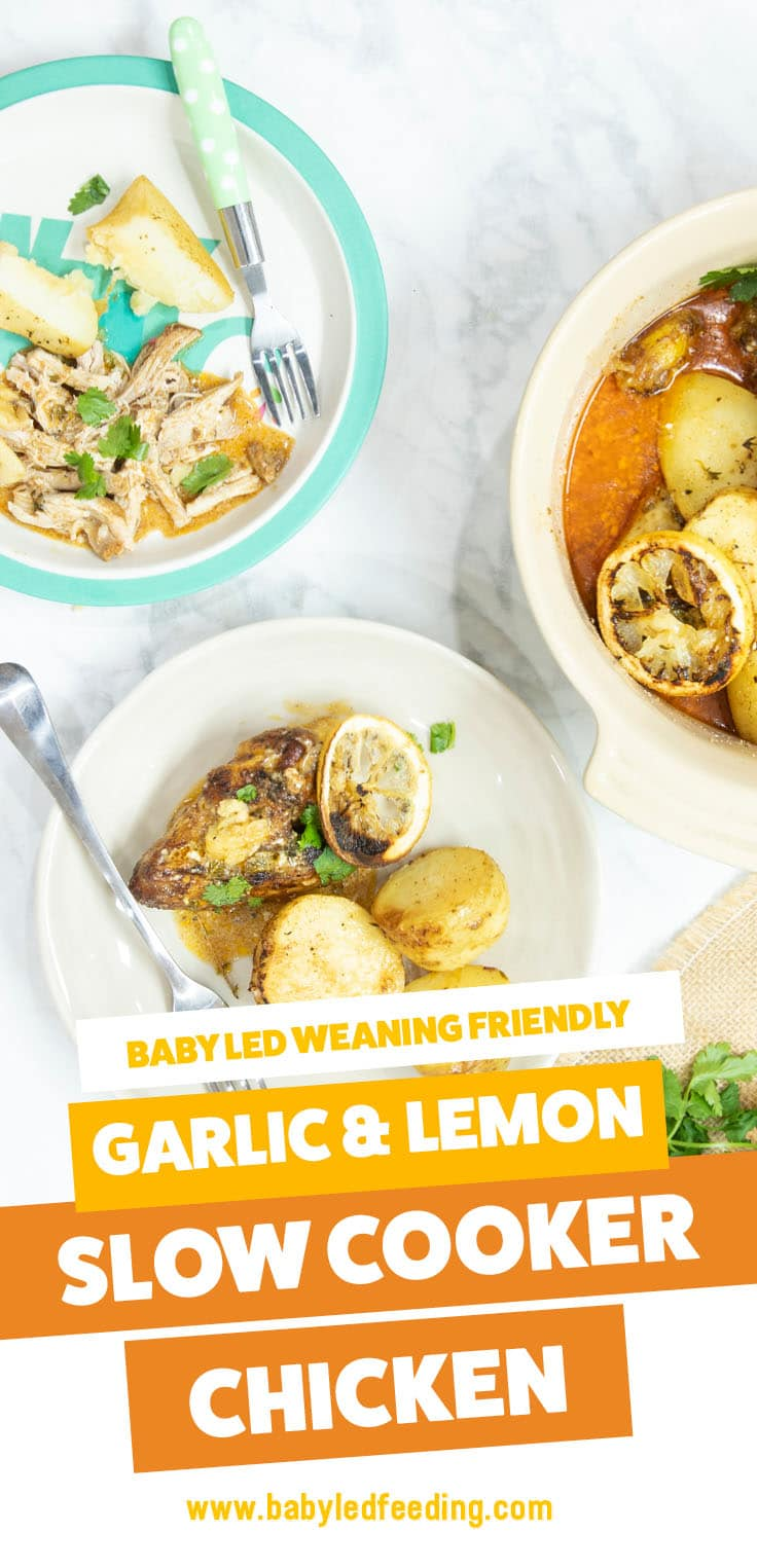 Baby Led Weaning Slow Cooker Chicken with Lemon & Garlic. Easy and healthy baby food for BLW crockpot recipe. Make ahead and feed the entire family! Dairy free and egg free. #babyledweaning #dairyfree #eggfree #slowcookerrecipe