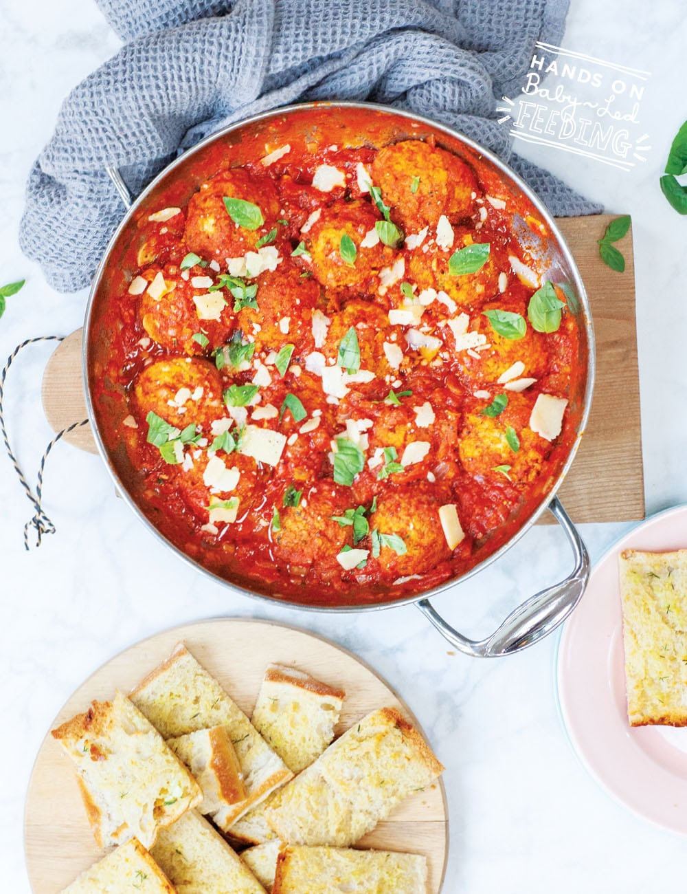 Easy vegetarian meatballs recipe safe for baby led weaning. Served with a side of garlic bread.