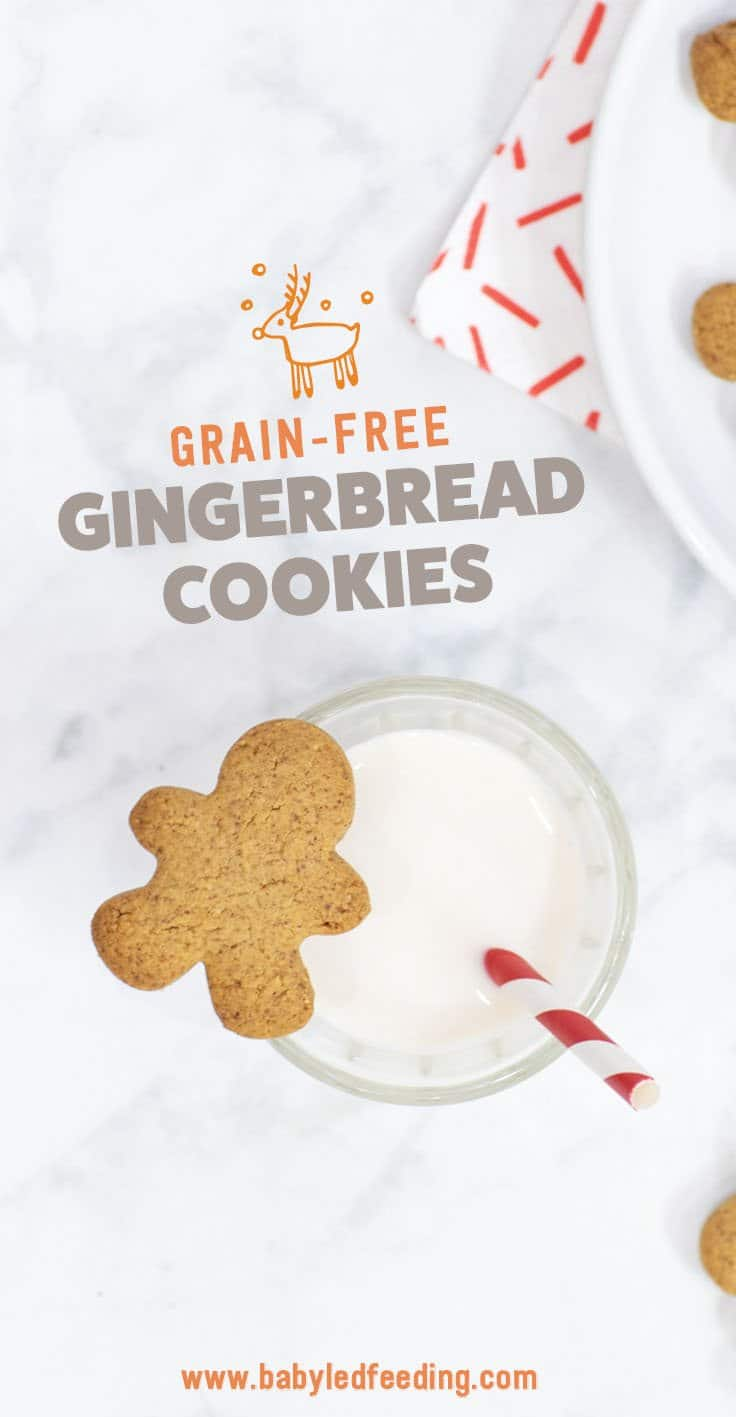 Gluten free (grain free) gingerbread cookies that are refined sugar free and excellent for baby led weaning snacks! This Christmas cookie recipe is one of my favourite when paired with gingerbread hot chocolate! #babyledweaning #refinedsugarfree #cookies #christmas #glutenfree