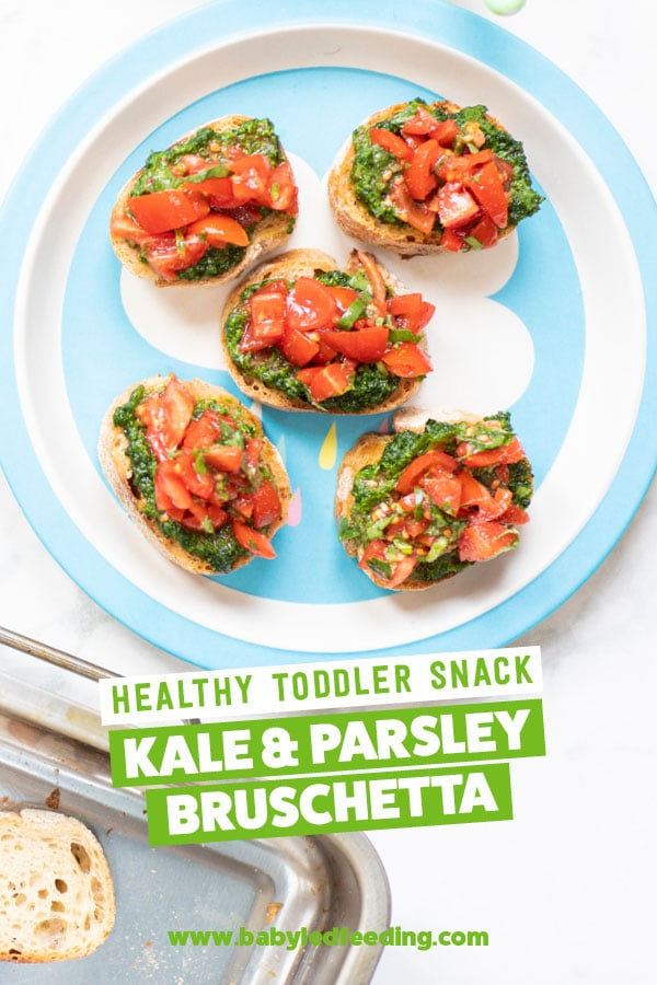 Kale & Parsley Bruschetta for toddlers. Healthy ideas for snacks for toddlers and babies. Bruschetta makes an excellent party food or side dish. #kale #bruschetta #babyledweaning #babyledfeeding #babyfood #appetizer