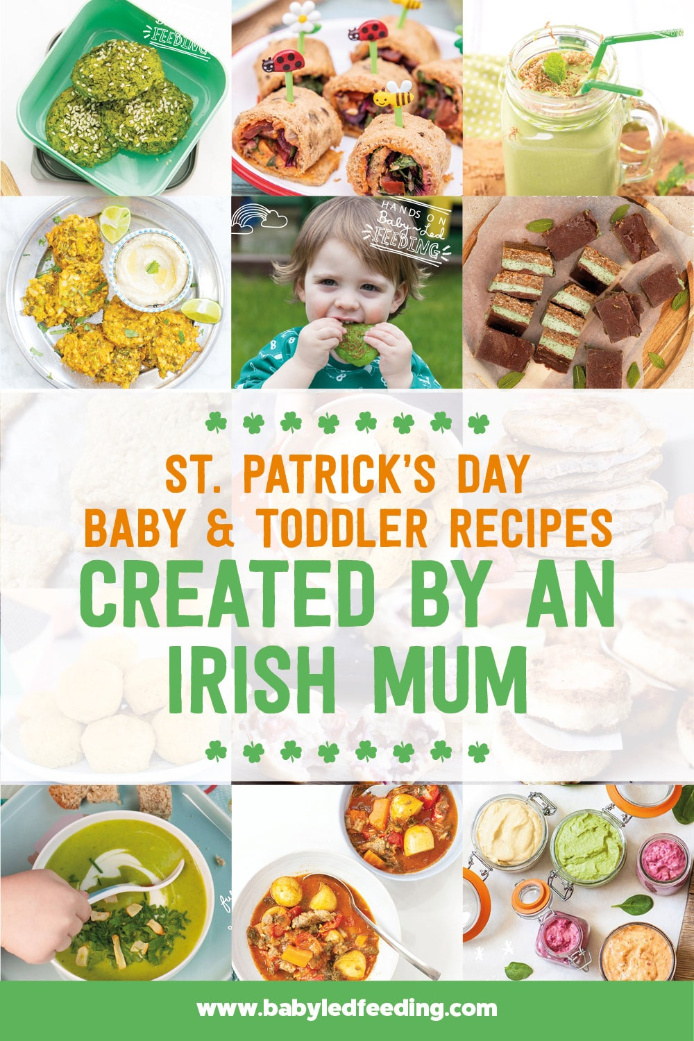 St. Patricks Day Recipes for kids created by an Irish Mum! Healthy recipe that are baby and toddler-friendly. Healthy shamrock shake, veggie-loaded mini cottage pies, refined sugar-free mint chocolate slice, traditional Irish stew, and seafood chowder... Irish party recipe for a fun Saint Patrick's Day! #stpatricksday #Irishfood #irish #kissmeimirish #babyledweaning #kidpartyfood #appetizers