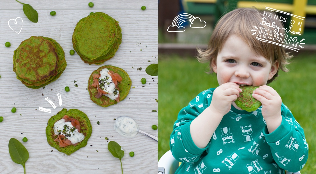 Baby-Led-Feeding-Pea-and-Spinach-Pancakes