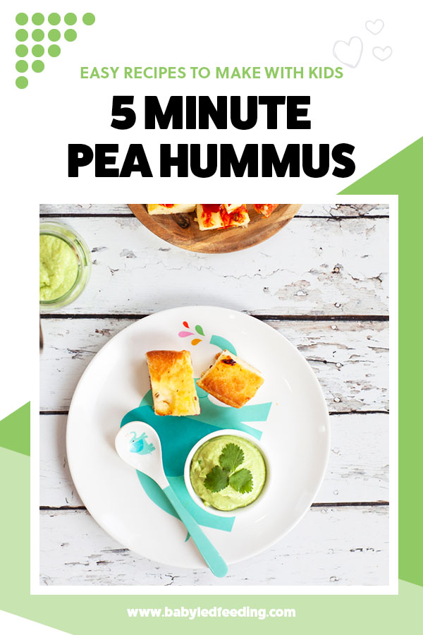 5 Minute Sweet Pea Hummus for Baby Led Weaning. A healthy hummus recipe, full of veggies! Hummus makes a super healthy dip for toddlers and babies! This fun savory snack for baby is vegan and dairy-free. #babyledweaning #babyledfeeding #hummus #vegan #dairyfree #eggfree #dipdip #healthysnacks #healthydips #healthyrecipe #cookingwithkids