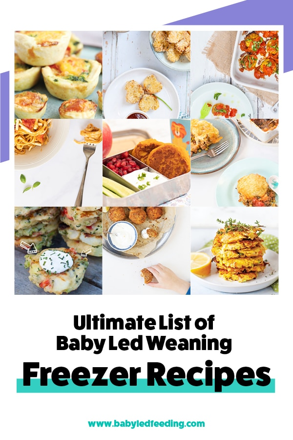 The Ultimate List of baby led weaning freezer recipe. Homemade recipe and freezer food ideas for baby led weaning. Easy recipe, healthy recipe, and family recipe even for the PICKY EATER! Simple ideas for breakfast, lunch, dinner, and snacks. This list includes hidden veggies, juicy fruit, sweet and savory! You'll even find some VEGAN and DAIRY FREE options! #fingerfood #fingerfoods #freezerfood #babyledweaning #babyledfeeding #babyfood #refinedsugarfree