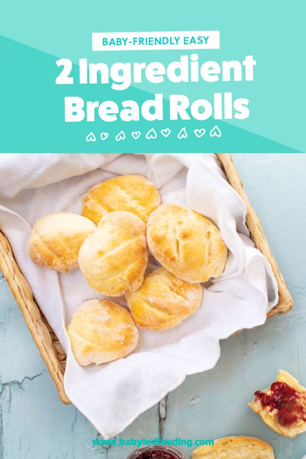 2 Ingredient Bread Rolls! – No Yeast, No Kneading! Easy and healthier recipe for bread made with only 2 ingredients! #bread #babyledweaning #babyledfeeding #baking #dinnerrolls #fingerfood