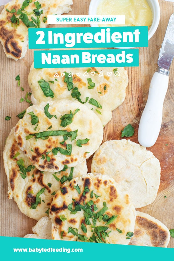 The EASIEST 2 ingredient naan bread you will ever make! Serve with a delicious kid friendly curry, a zesty bowl of fresh hummus, or with any healthy dip you like! Easy homemade bread ANYONE can make is a snap! I love Indian food! #naanbread #babyledweaning #babyledfeeding #bread #babyledweaning #babyledfeeding #baking #indianfood #fingerfood