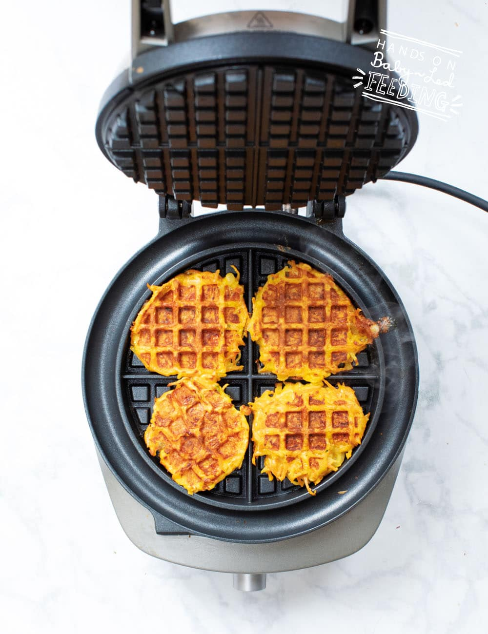 Baby Led weaning Carrot and Cheese Waffles Recipe Images3