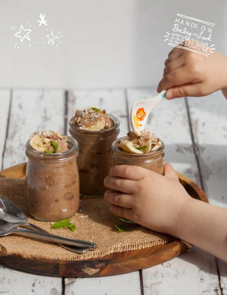 Baby-Led-Feeding-Chocolate-and-Banana-Chia-Pudding-Zoomed-in-Image-with-Oscars-Hand-768×998