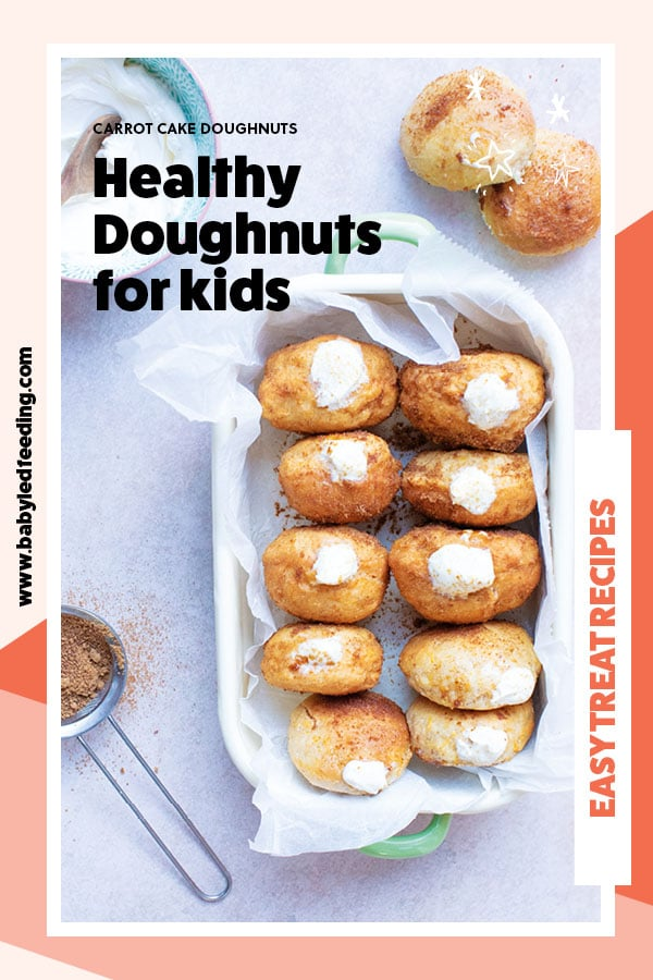 AMAZING Carrot Cake Donuts With Cream Cheese Filling- They're healthy doughnuts too! These baked donuts are naturally sweetened and refined sugar-free. The filling is absolutely delicious but is made with a healthy and surprising twist! #babyledweaning #babyledfeeding #toddlerfood #donuts #doughnuts #bakeddoughnut #yeastdoughnut #healthycreamfrosting #easydoughnutrecipe #healthydoughnutrecipe