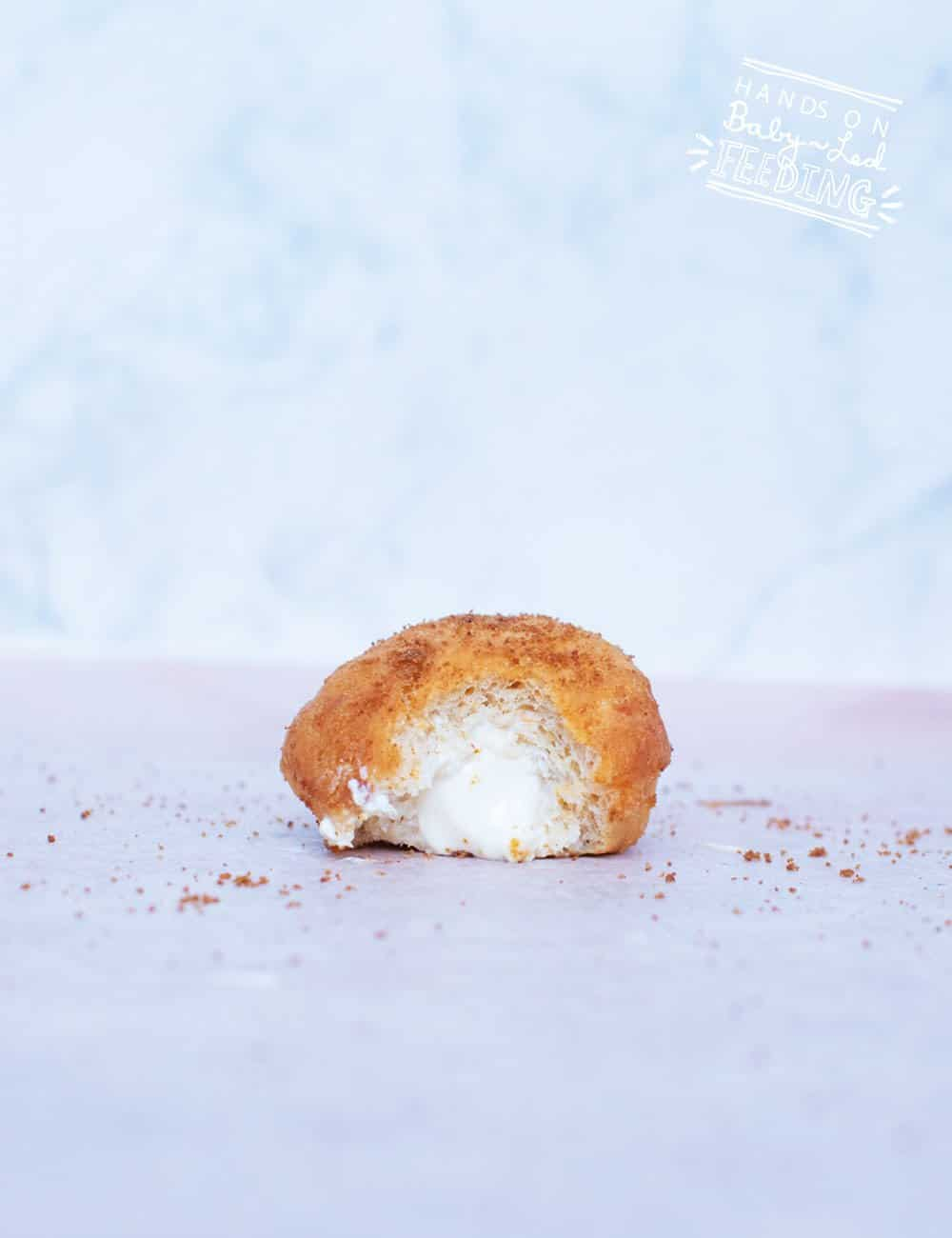 Baby Led Feeding healthy baked doughnut recipe with healthy cream cheese frosting pinterest recipe baby doughnut reicpe