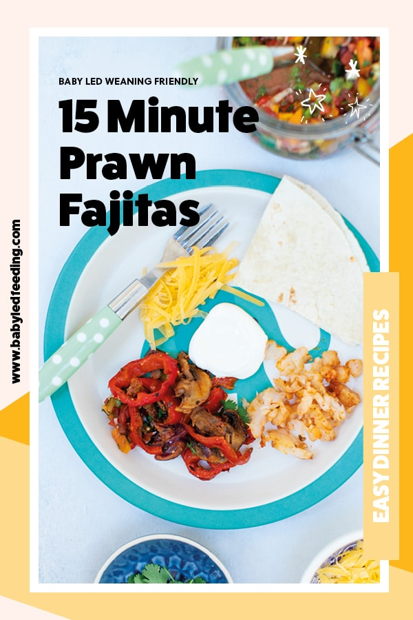 Healthy baby led weaning dinner idea- Prawn fajitas! This easy shrimp fajita recipe is seasoned perfectly for babies and toddlers, not spicy and not bland. Easy baby led weaning recipe that is baked in the oven and served with fresh homemade salsa. #babyledweaning #babyledfeeding #babyfood #familymeals #mexicanfood #fajitas #babyledweaningdinner