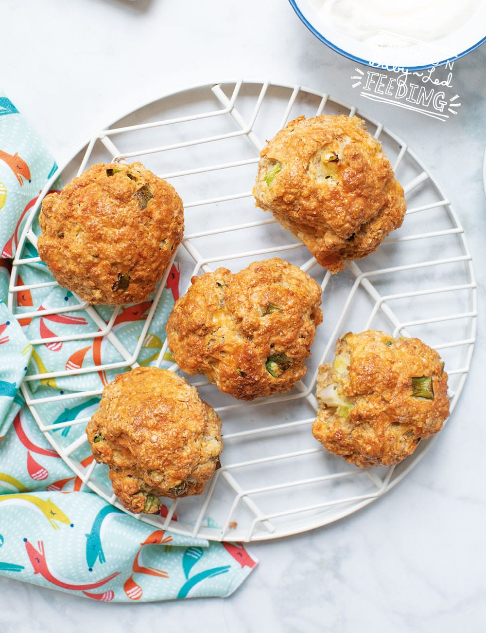Savory snack for toddlers and babies! These savory scones are an amazing lunchbox idea and travel snack for kids! Scones are the perfect texture and size for little hands. Pack this savory finger food for your next adventure! #babyledfeeding #babyledweaning #scones #fingerfood #savorysnacks