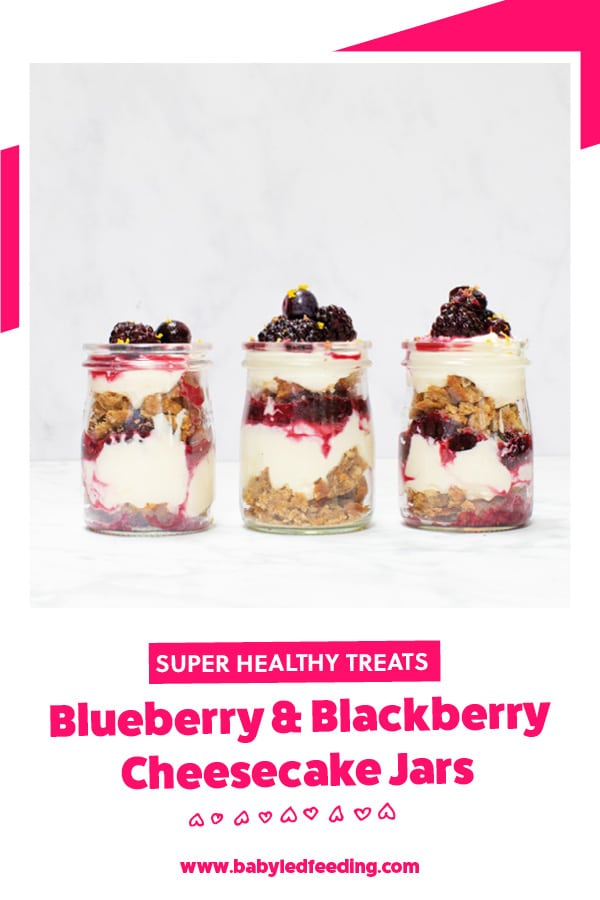 Blackberry and Blueberry Cheesecake Jars for Baby Led Weaning.